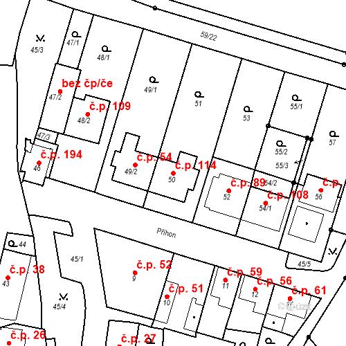 Katastrální mapa Stavební objekt Ořešín 114, Brno