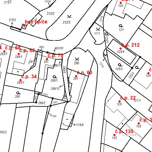 Katastrální mapa Stavební objekt Ořešín 60, Brno