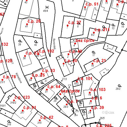Katastrální mapa Stavební objekt Ořešín 20, Brno