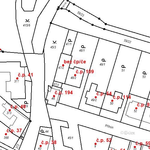 Katastrální mapa Stavební objekt Ořešín 109, Brno