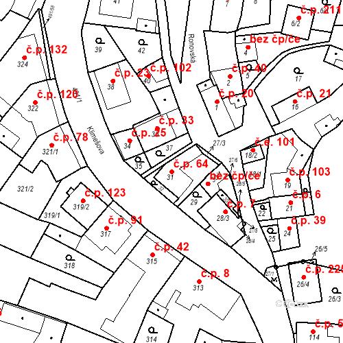Katastrální mapa Stavební objekt Ořešín 64, Brno