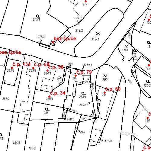 Katastrální mapa Stavební objekt Ořešín 79, Brno