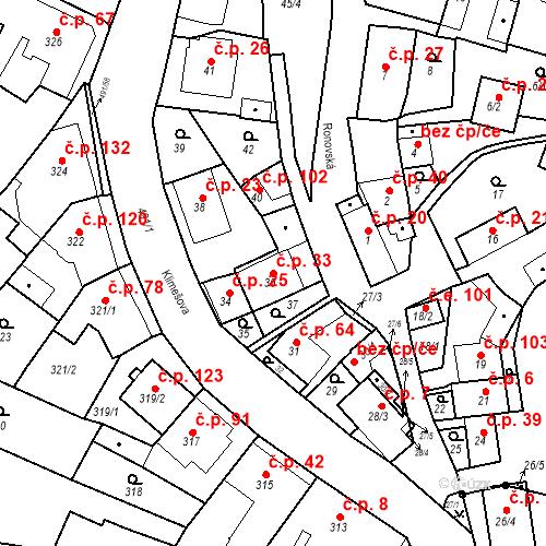 Katastrální mapa Stavební objekt Ořešín 33, Brno