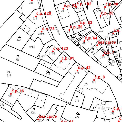 Katastrální mapa Stavební objekt Ořešín 91, Brno