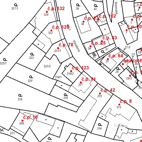 Katastrální mapa Stavební objekt Ořešín 123, Brno