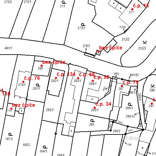 Katastrální mapa Stavební objekt Ořešín 68, Brno