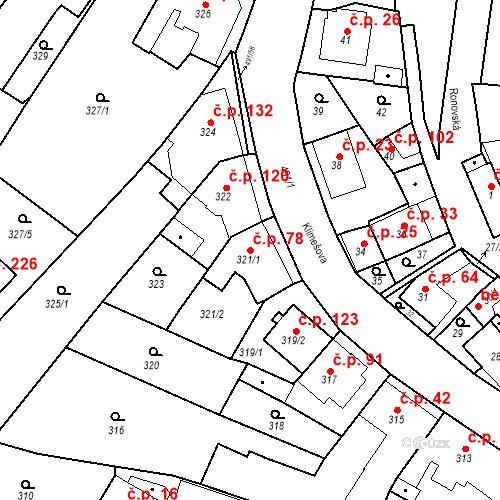 Katastrální mapa Stavební objekt Ořešín 78, Brno