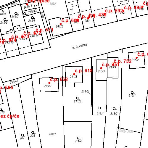 Katastrální mapa Stavební objekt Blučina 618, Blučina