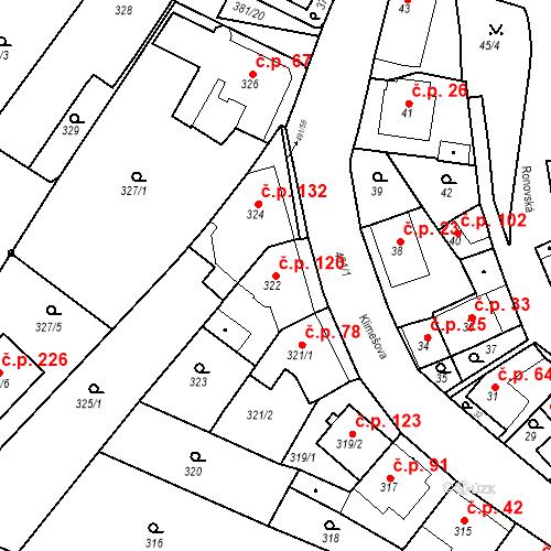 Katastrální mapa Stavební objekt Ořešín 120, Brno