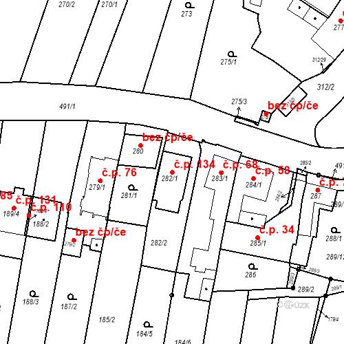 Katastrální mapa Stavební objekt Ořešín 134, Brno