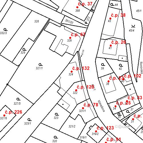 Katastrální mapa Stavební objekt Ořešín 132, Brno