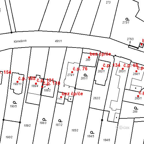 Katastrální mapa Stavební objekt Ořešín 76, Brno