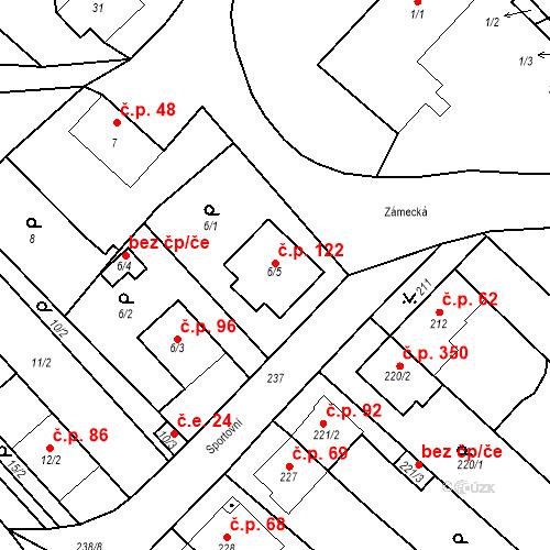 Katastrální mapa Stavební objekt Rebešovice 122, Rebešovice