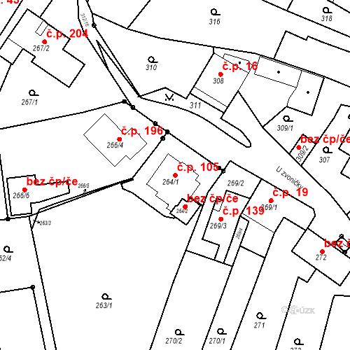 Katastrální mapa Stavební objekt Ořešín 105, Brno