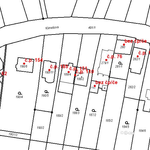 Katastrální mapa Stavební objekt Ořešín 110, Brno