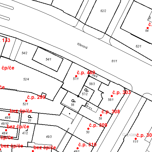 Katastrální mapa Stavební objekt Trnitá 460, Brno