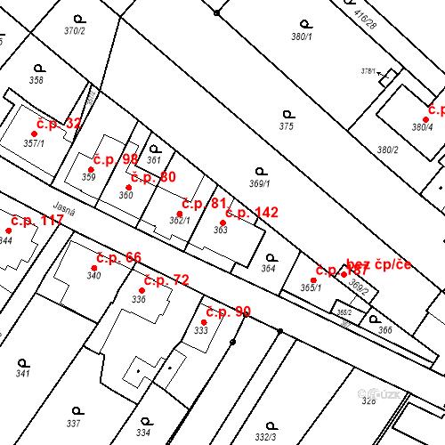 Katastrální mapa Stavební objekt Ořešín 142, Brno