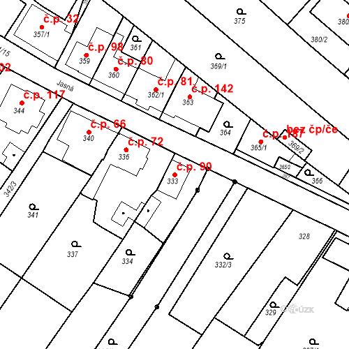 Katastrální mapa Stavební objekt Ořešín 90, Brno
