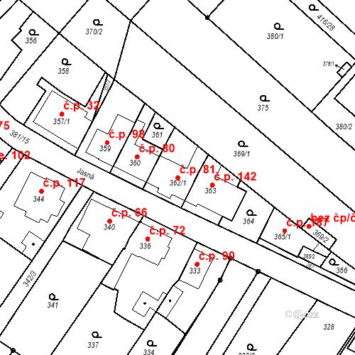 Katastrální mapa Stavební objekt Ořešín 81, Brno