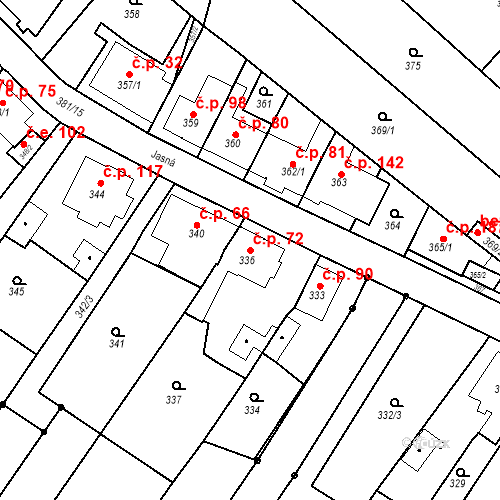 Katastrální mapa Stavební objekt Ořešín 72, Brno