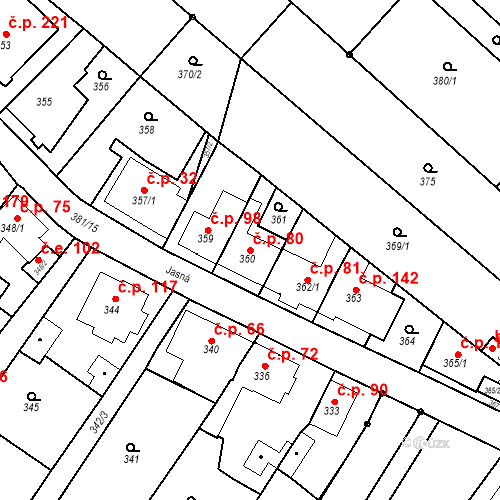 Katastrální mapa Stavební objekt Ořešín 80, Brno