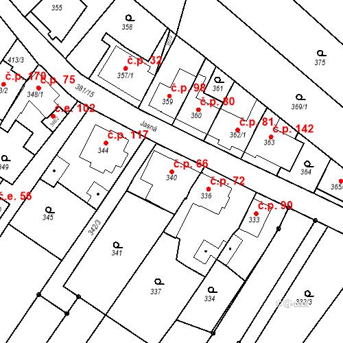 Katastrální mapa Stavební objekt Ořešín 66, Brno
