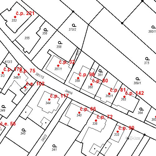 Katastrální mapa Stavební objekt Ořešín 98, Brno