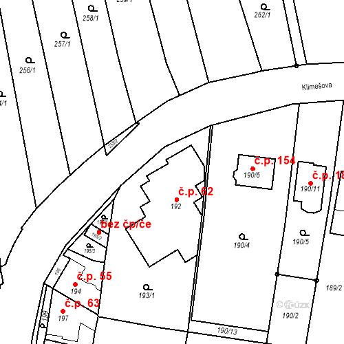 Katastrální mapa Stavební objekt Ořešín 62, Brno