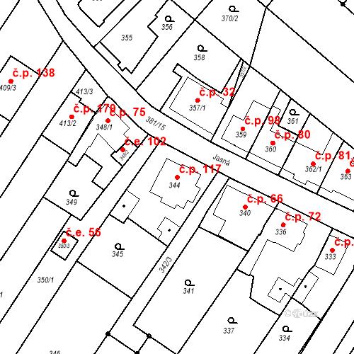 Katastrální mapa Stavební objekt Ořešín 117, Brno