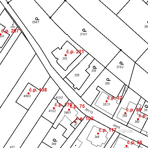Katastrální mapa Stavební objekt Ořešín 83, Brno