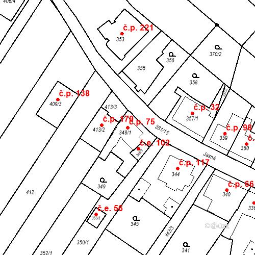 Katastrální mapa Stavební objekt Ořešín 75, Brno