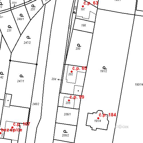 Katastrální mapa Stavební objekt Ořešín 65, Brno