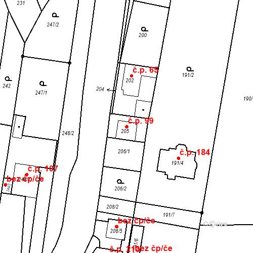 Katastrální mapa Stavební objekt Ořešín 99, Brno