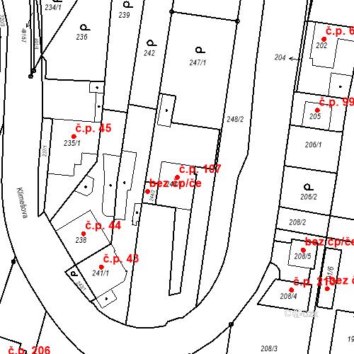 Katastrální mapa Stavební objekt Ořešín 107, Brno