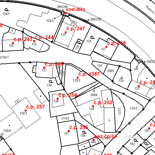 Katastrální mapa Stavební objekt Žamberk 1387, Žamberk