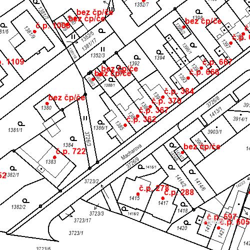 Katastrální mapa Stavební objekt Žamberk 362, Žamberk