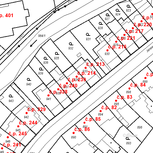 Katastrální mapa Stavební objekt Komárov 214, Brno