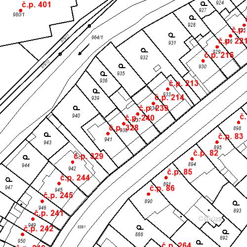 Katastrální mapa Stavební objekt Komárov 240, Brno
