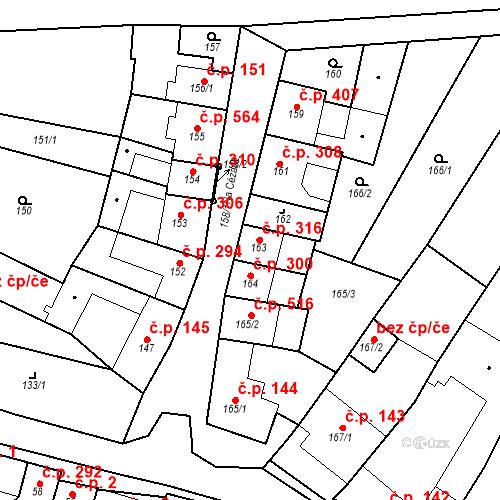 Katastrální mapa Stavební objekt Blučina 316, Blučina