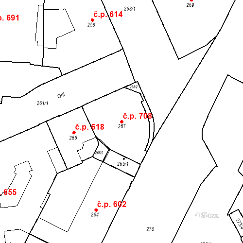 Katastrální mapa Stavební objekt Brno-město 708, Brno