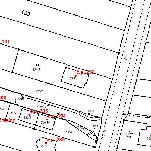 Katastrální mapa Stavební objekt Přízřenice 292, Brno