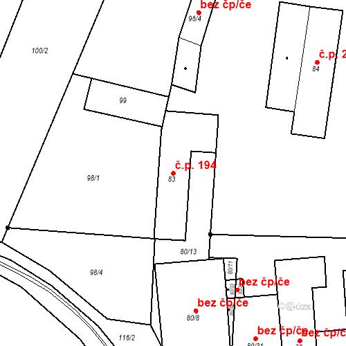 Katastrální mapa Stavební objekt Přízřenice 194, Brno