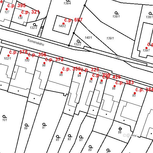 Katastrální mapa Stavební objekt Blučina 323, Blučina