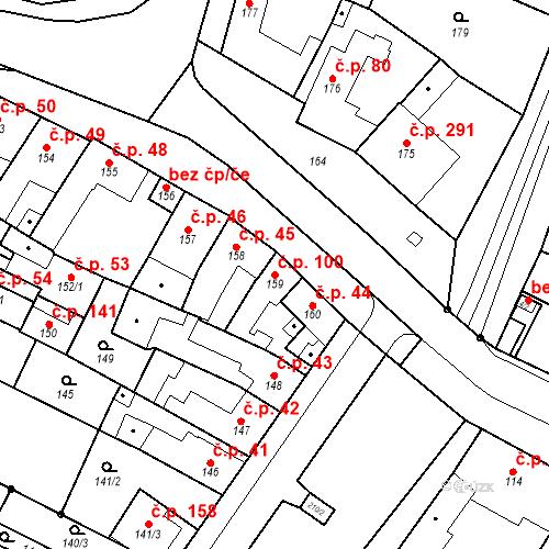 Katastrální mapa Stavební objekt Přízřenice 100, Brno