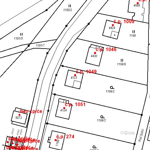 Katastrální mapa Stavební objekt Žamberk 1049, Žamberk