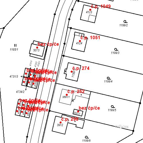 Katastrální mapa Stavební objekt Žamberk 274, Žamberk