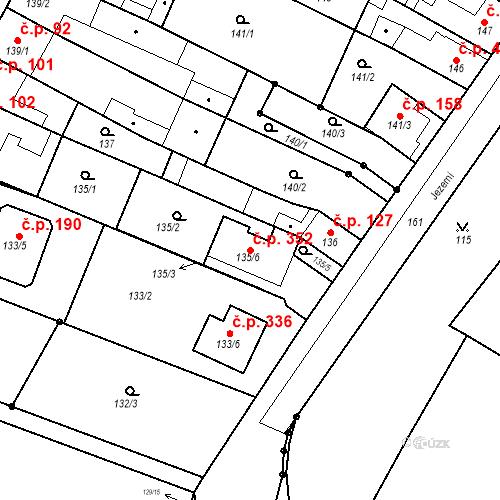Katastrální mapa Stavební objekt Přízřenice 352, Brno