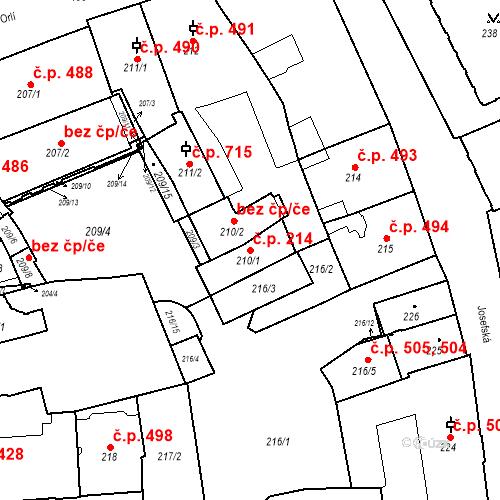 Katastrální mapa Stavební objekt Brno-město 214, Brno