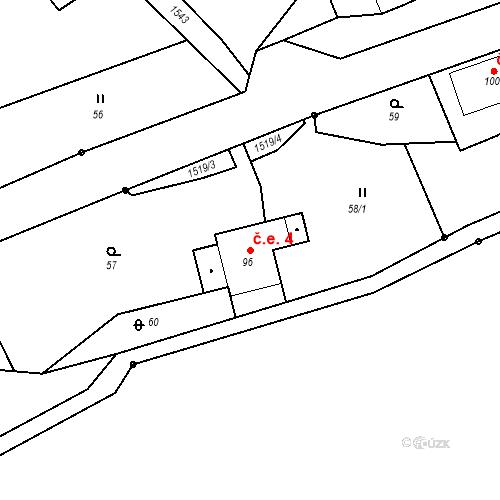 Katastrální mapa Stavební objekt Rožmitál 4, Broumov