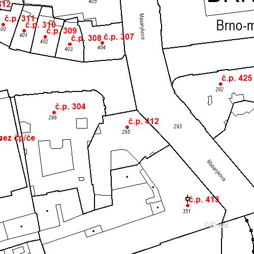 Katastrální mapa Stavební objekt Brno-město 412, Brno